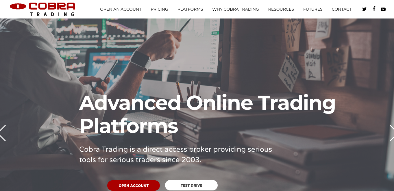 Cobra trading home page