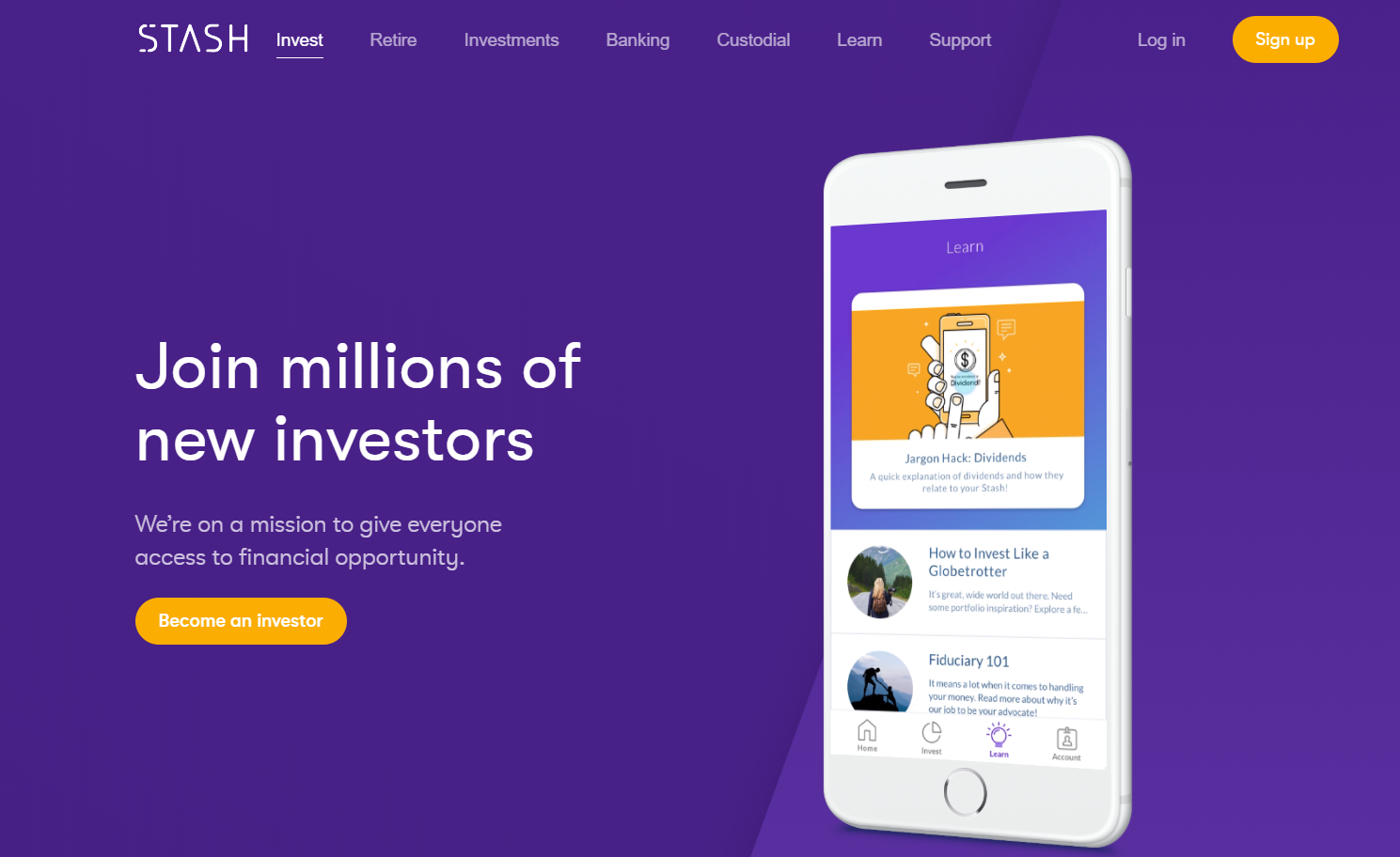Stash invest homepage