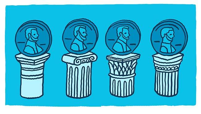 Penny Stocks - pennies on 4 columns